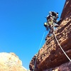 Doug Goodrich starting pitch 3 of The Dark Tower in Zion (runout slab for the most part on this pitch)