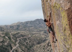 Rock Climbing Photo: Mark Mellott at the end of the crux on Rage