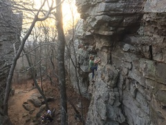 Caleb approaching the roof crux.
