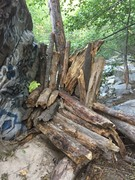 A ton of deadfall to the south side of the boulder.