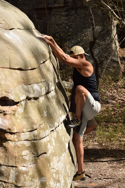 Rock Climbing Photo: Pressing down on the committing slopers of this gr...