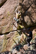 Rock Climbing Photo: On the first ascent just past the two finger pocke...