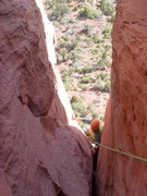 Rock Climbing Photo: Bean inching past the final bulge. The battle at l...