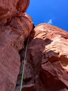 Rock Climbing Photo: Leading the offwidth. Photo taken from first ledge...