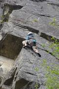 Rock Climbing Photo: Climber approaching the crux