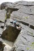 Rock Climbing Photo: Climber showing how the crux is done.