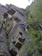 Rock Climbing Photo: Climber starting up the arete.