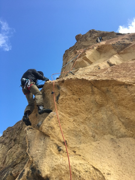 Just after the first crux of the second pitch.