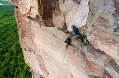 Rock Climbing Photo: The crux 12d roof and finger crack.
