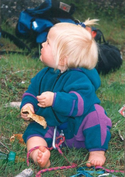 """Future climber back in the day (May '96), on """"Picnic Ledge"""" at the base of """"Facelift""""."""