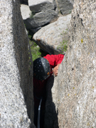 Rock Climbing Photo: Charlotte navigating the extremely narrow main cru...