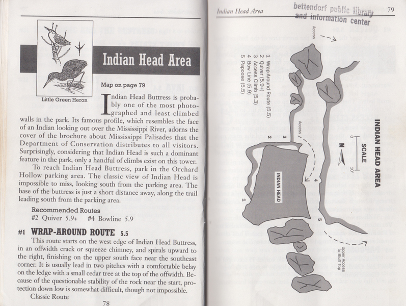 Map of the Indian Head area from the 1986 River Rock Guide book. Area a bit over-grown, but still accessible as of Spring 2017. No bolts / rings up top, just a larger boulder that can be wrapped / some pieces of pro can be set on.