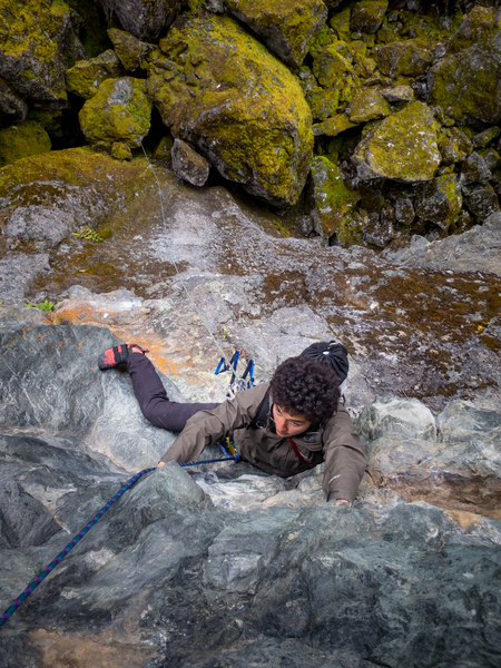 Rock Climbing Photo: Tricky moves to reach hidden jugs near the top of ...