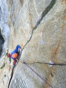 Rock Climbing Photo: The final crux on Pitch 5.