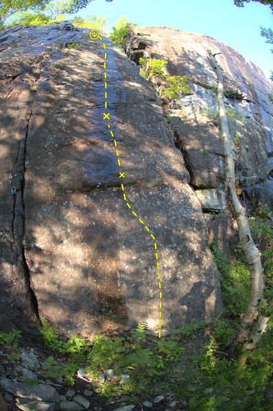 Sirloin Tips (5.12b). Very foreshortened. The first two bolts are the lower 25% of the route.