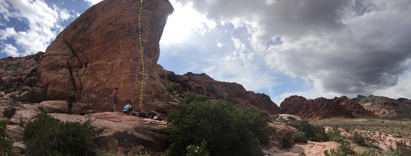 Us preparing to climb caustic cock at cannibal crag.