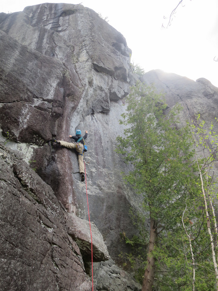 Climber on Invasive Species (5.10b). It follows the right-rising, stepped overhang visible above and right of the climber.