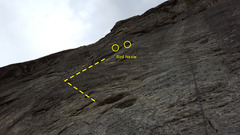Rock Climbing Photo: 2 bolts, hard left, crack, hard right, pebbles upw...