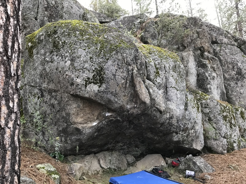 A view of the best boulder problem at Mortar Rocks, this overhang offers a one of a kind, spectacular climb for shorter climbers and is guaranteed to tick off taller ones.