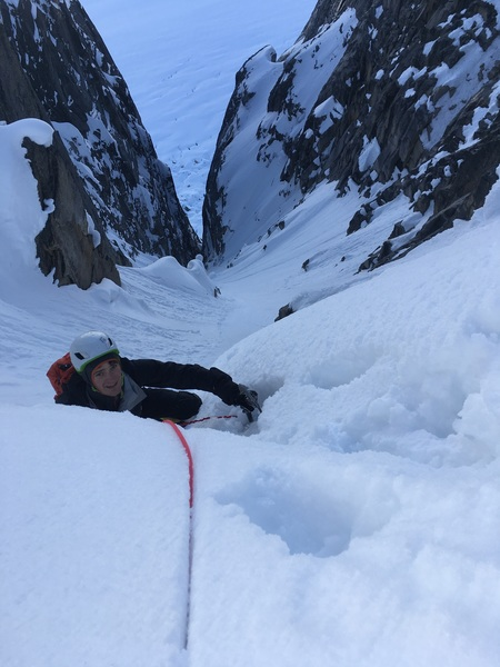 Mik getting ready to pull over the cornice and onto the col.
