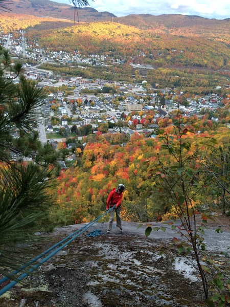 Rock Climbing Photo: Rappelling as the sun sets. We used a single 70m. ...