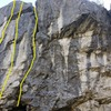 The three leftmost routes at Leaz.<br> <br> L-R:<br> Que Dalle (6a+)<br> Roc Feller (6c)<br> La Fissure (5c/6a)