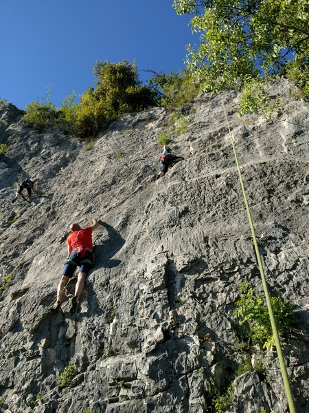 Busy after work climbing crowd at Galbiate.  Rightmost route pictured is Cip and Ciop