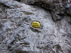 Rock Climbing Photo: Routes at Discoteca are labeled with painted stone...