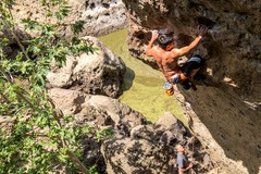 Rock Climbing Photo: Cliff T getting established on the face after pull...