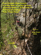 Rock Climbing Photo: Looking down the dirt ledge. Furthest climber is a...