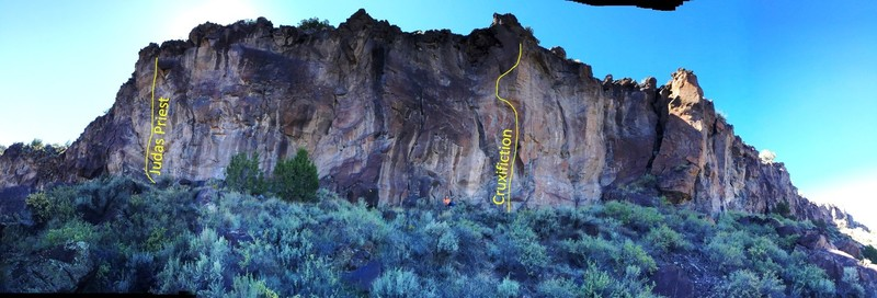 Rock Climbing Photo: A pano of the Judas sector, showing general layout...