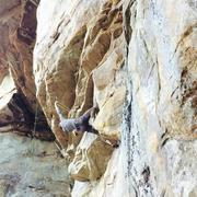 Rock Climbing Photo: Clipping the last roof bolt...one bolt plus anchor...