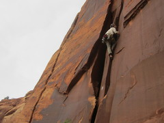 Rock Climbing Photo: Kubik taking a lap after the FA.