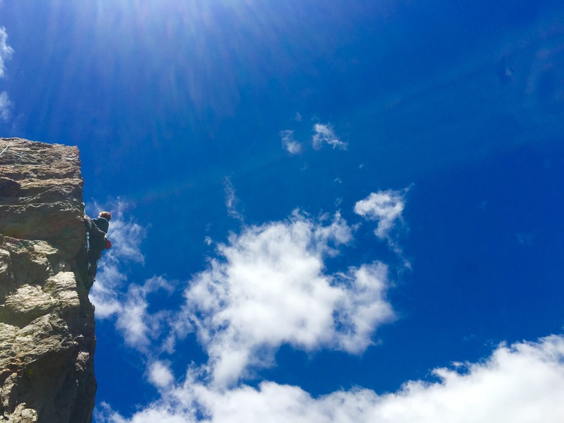 Climber on Sunshine Arete