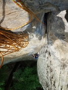 Rock Climbing Photo: Looking down while top belaying a 2nd who'd never ...