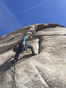 Just past the crux slab moves over some small gear. Fun section