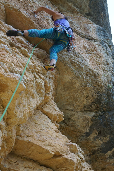 Rock Climbing Photo: Viv starting off on this route. This start is shar...