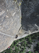 Rock Climbing Photo: Looking down the top of pitch 7 (note detached pin...
