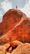 Rock Climbing Photo: Dano rappel, South face, Praying Monk, Photo by Ri...