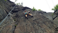 Rock Climbing Photo: Pawel finding stability after the move left to gai...