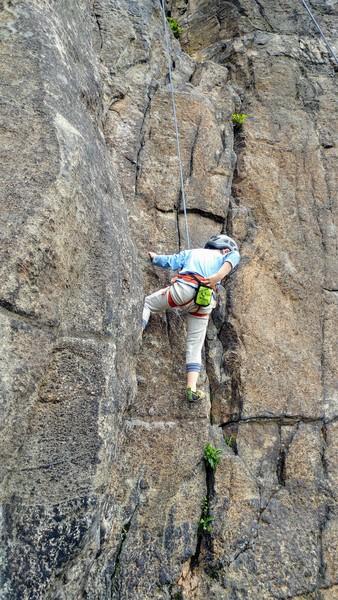 Rock Climbing Photo: Damian, age 5, chalking up at the start