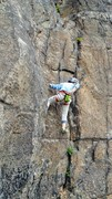 Rock Climbing Photo: Damian, age 5, chalking up at the start