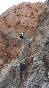 Rock Climbing Photo: Downward dog, Rich on the big rappel on top of ice...