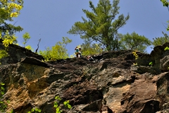 Rock Climbing Photo: The top of the first pitch of Model Citizen