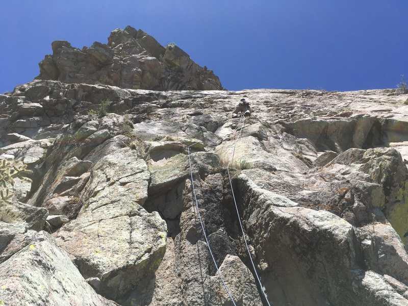 Marc Tarnosky leading P1. (Note: this route is more like 500 ft from start of climbing to summit)