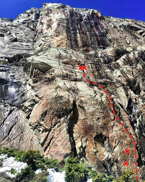 Just Another 5.9 starts in the orange rock littered with cracks on the lower right of the photo. Follow a black(ish) streak left of Crescent Loon.