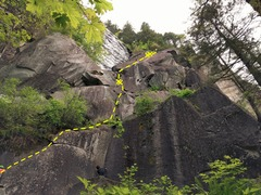 View of first 2 pitches of Great Northern Slab route.