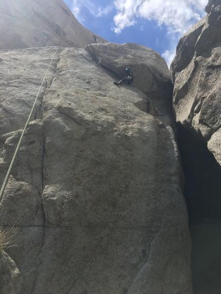 Rock Climbing Photo: Derrick following the traverse