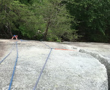 I used 3 placements after the big tree - small cam, tree anchor and nut.  <br />it's more than enough for second part of Entrance Crack 5.4
