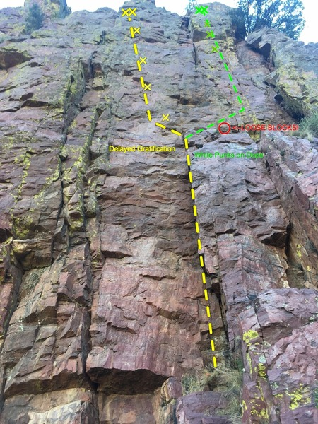 Rock Climbing Photo: Delayed Gratification (left) and WP0D(right)